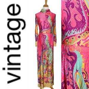 Vintage 60's Pink Long Multicolor Pattern Dress